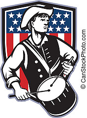 Illustration of an American patriot minuteman revolutionary soldier drummer with drums and stars and stripes flag set inside shield done in retro style.