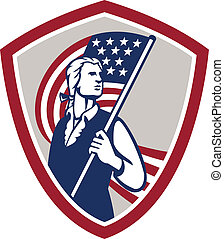 Illustration of an American Patriot holding a USA stars and stripes flag set inside crest shield on isolated white background done in retro style.
