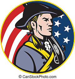 Illustration of an American patriot minuteman revolutionary soldier with musket rifle and stars and stripes flag set inside circle done in retro style.
