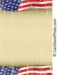 A vertical american waving flag with a large copy space for your message on this poster.