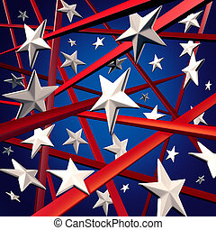 American stars and stripes and United States three dimenaional flag background design element with red white and blue colors celebrating fourth of July and election time.