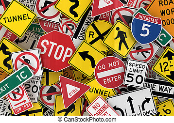 Many american traffic signs mixed together