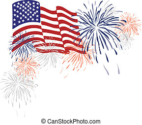 American Usa Flag and Fireworks