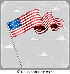 American wavy flag. Vector illustration.