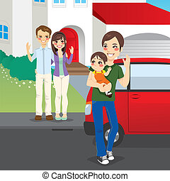 Young father picking up his son in shared custody after amicable divorce from his former wife and her new husband home