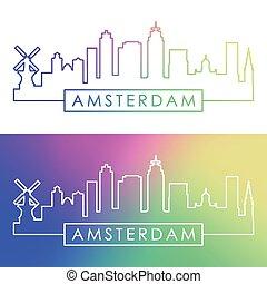 Amsterdam skyline.