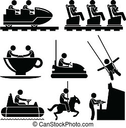 A set of pictograms representing people enjoying themselves in a theme park.
