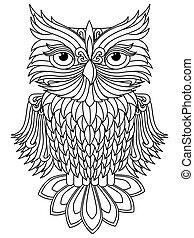 Amusing big owl black outline isolated on the white background, cartoon vector artwork