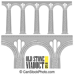An ancient high stone viaduct. Constructed of stone and bricks a huge bridge. Even the smallest details are visible.