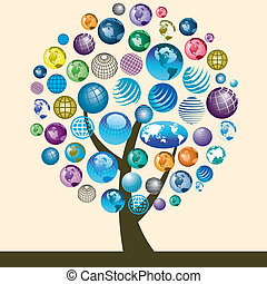 colorful globe icons on a tree