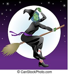An illustration of a scary Halloween witch riding her broomstick