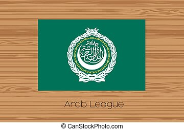 Illustration of a wooden floor with the flag of Arab League