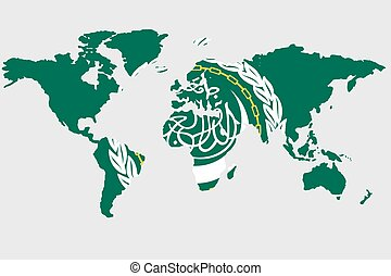 Illustration of the world with the flag of Arab League