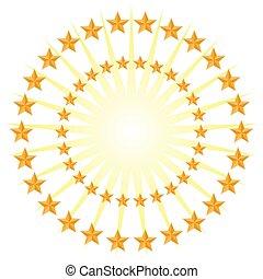 Gold Star Circle Pattern Energy Burst Isolated on White Background