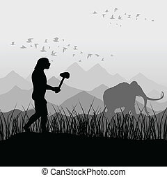 The ancient person on hunting for a mammoth. A vector illustration