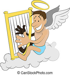 angel with harp illustration