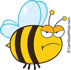 Angry Bee Cartoon Character