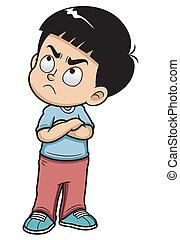 Vector illustration of Angry teenage boy