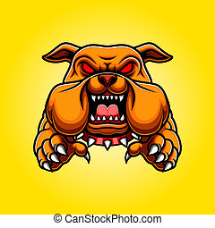 Angry Bulldog Mascot Body with Paws and Claws