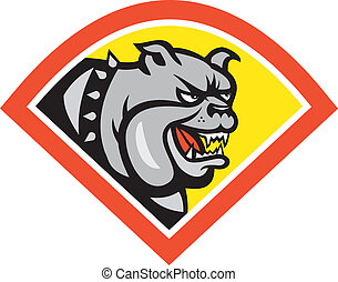 Angry Bulldog Mongrel Head Diamond Cartoon