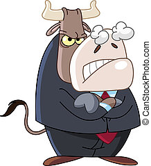 Angry business bull
