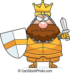 A cartoon illustration of a king in armor looking angry.