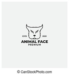angry dog face  line American Staffordshire Terrier logo design