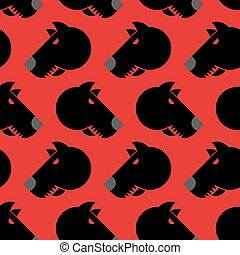 Angry dog seamless pattern. Background of aggressive animal with red eyes. Terrible texture pet.