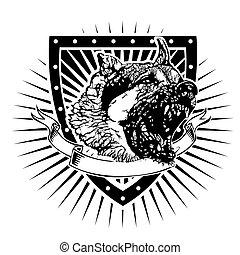 angry german shepherd shield