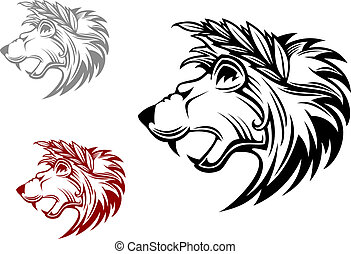 Angry heraldic lion with laurel wreath
