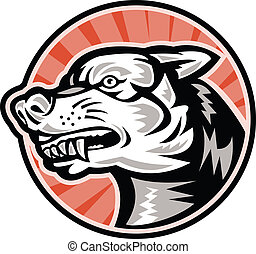 Illustration of an angry mongrel dog baring fangs set inside cricle done in retro woodcut style.