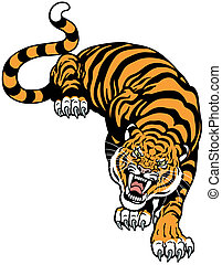 angry tiger front view, tattoo illustration isolated on white background