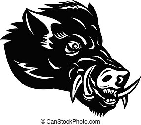 Angry Wild Boar or Common Wild Pig Head Side Mascot Woodcut Black and White