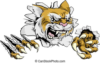 A tough wildcat or cougar animal sports mascot breaking through a wall