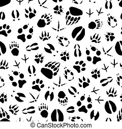 Animal and bird track seamless pattern background