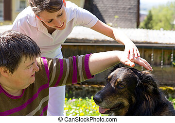 animal assisted therapy with a half breed dog