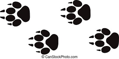 Animal foot prints and tracks isolated steps traces on white for wildlife concept design vector.