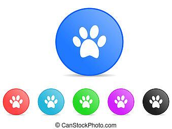 animal cat paw print dog pet vector icons