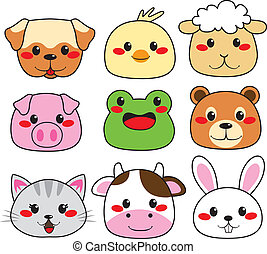 Collection of nine funny and cute happy animal faces smiling