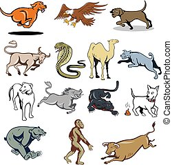 animal-farm-wildlife-mascot-CARTOON-SET