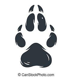 Animal footprint pet dog or wolf paw