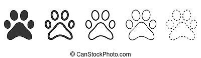 Animal footprint vector icons. Set of Paw prints.