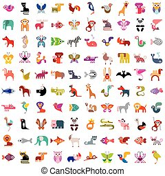 Animals, birds, fishes and insects large vector icon set. Various isolated colorful images on white background. Can be used as seamless background.