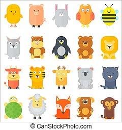Animal icons collection. Flat animals set. Vector illustration.