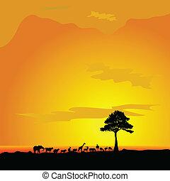 animal in desert and tree black silhouette vector illustration