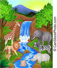 Animal cartoon in the wild