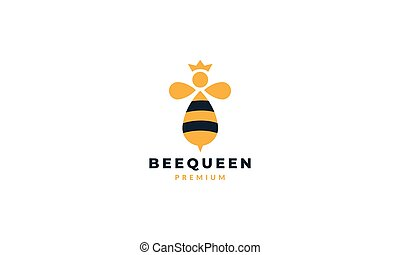 animal insect bee abstract queen cute logo vector icon illustration design
