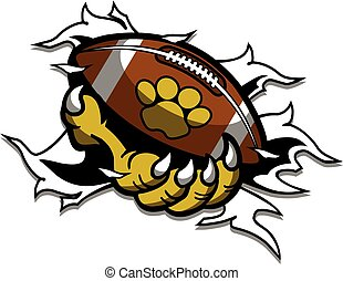 animal mascot claw holding football