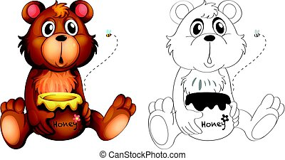 Animal outline for bear with honey