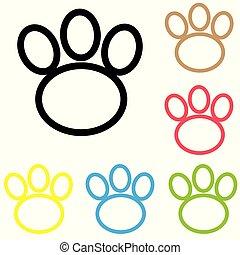 Animal paw icon print line vector foot dog cat illustration. colour line dog paw.
